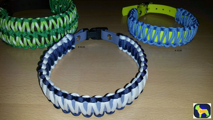 PAH5 Biothane mix Paracord mit Klickverschluß Kunststoff - Farbe: grau weiß blau - 44 cm Halsumfang ca. 3 cm breit - Preis:statt  € 16,50 -  nur € 10,00