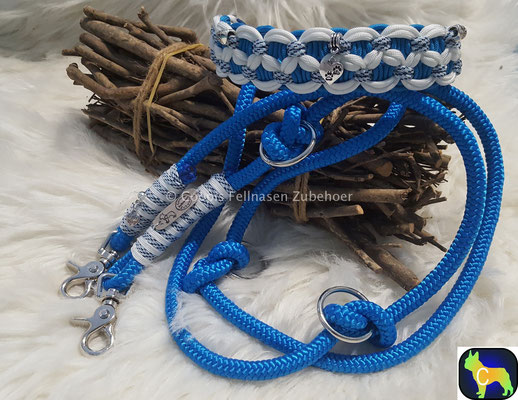 Paracord Tau Set, Halsband und passende Leine, Halsband HU 40 cm bis 45 cm, Leine 1,90´m mit Scherenkarabiner statt € 63,00  nur  € 44,10