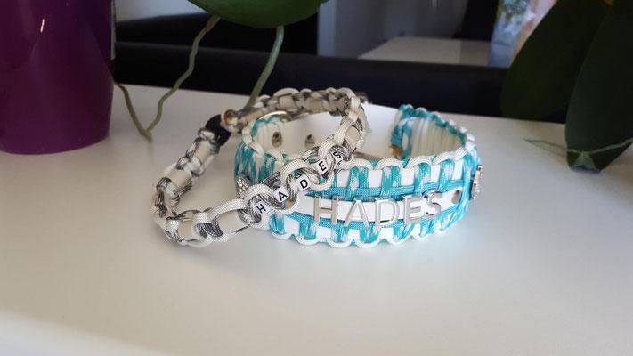Biothane Hundehalsband mit Paracord, Namen, Perlen, Hund, Biothane Paracord, Hundehalsband Paracord, Paracord Hundehalsband, Bully, Retriever, Franzose, mit Namen Hundehalsband