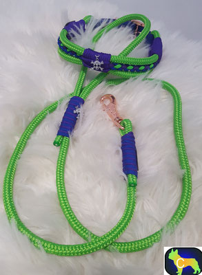 Tau Halsband und Tau Leine mit Rosé Gold Beschlägen, Halsband mit Totenkopfanhänger HU 47 cm bis 52 cm, Leine 1,50m   statt € 64,90  nur € 45,43