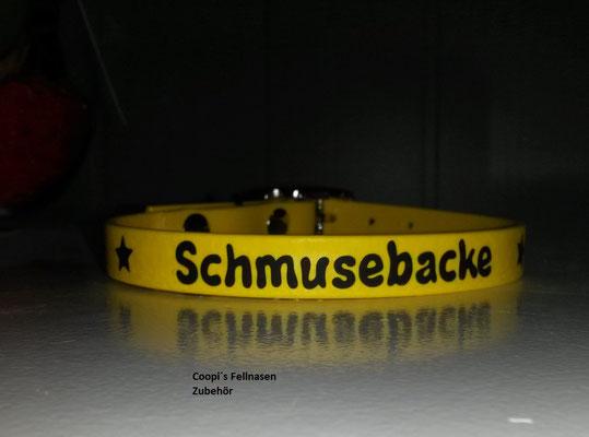 DR8 Biothane Halsband mit Druck Schmusebacke - Farbe: gelb - 16 mm verstellbar  29 cm - 35 cm Halsumfang Preis: statt  € 11,00  nur € 8,00