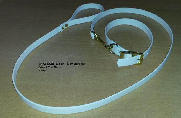 SET8 Biothane Set Weiß Messing * Halsband 19 mm breit verstellbar 33,5 cm - 40 cm * Einfache  Leine mit Handschlaufe  16 mmbreit und  1,20 lang Preis: statt € 26,00    nur  € 20,00