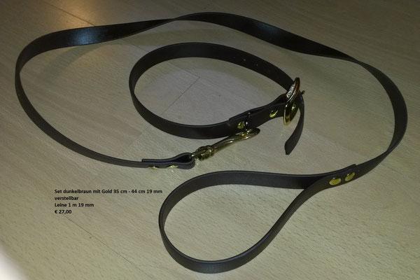 SET7 Set aus Biothane dunkelbraun mit Messing -  Halsband 19 mm breit und verstellbar 35 cm - 44 cm * Leine 19 mm breit und 1 m lang mit Messing Preis: statt € 25,00     nur  € 19,00