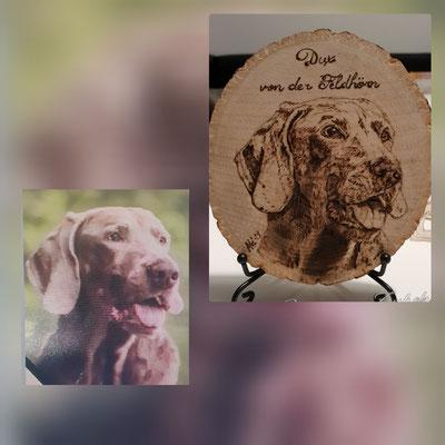Jagdhund Brandmalerei, Foto Holz, Holzgravur, Holz brennen, Bilder auf Holz, Holzbild, Tiere auf Holz, Tierfoto auf Holz,  Hund auf Holz, Holzfoto Tier, Haustier Holz, Pyrographie