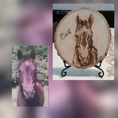 Pferd Brandmalerei, Foto Holz, Holzgravur, Holz brennen, Bilder auf Holz, Holzbild, Tiere auf Holz, Tierfoto auf Holz,  Hund auf Holz, Holzfoto Tier, Haustier Holz, Pyrographie