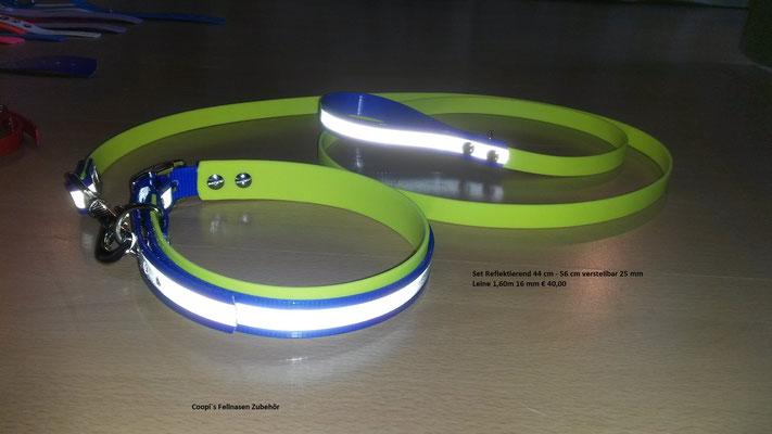 SET3  Biothane Set blau reflekticve mit Noengelb * 25 mm Halsband verstellbar 44 cm - 56 cm * Leine passend dazu 16 mm breit und  1,60 m lang Preis: statt € 40,00   nur € 35,00