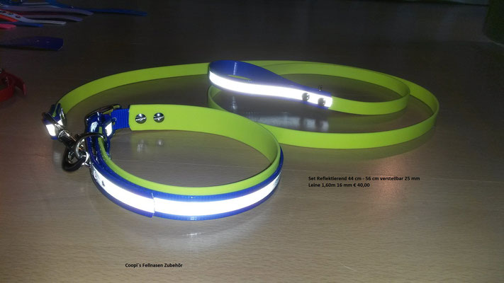 SET3  Biothane Set blau reflekticve mit Noengelb * 25 mm Halsband verstellbar 44 cm - 56 cm * Leine passend dazu 16 mm breit und  1,60 m lang Preis: statt € 40,00   nur € 24,00