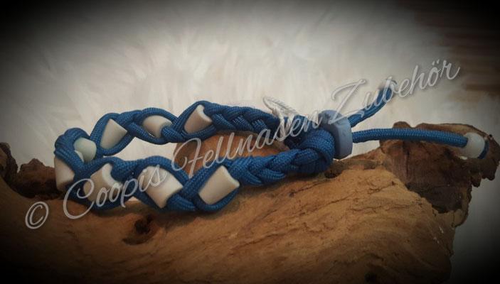 Em Keramik Halsband blau klein, Antizecken Halsband aus Paracord  HU 21 cm   € 11,00    -   € 6,60