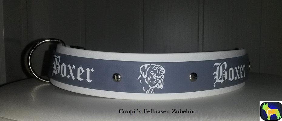 DR5 Biothane Halsband Druck Boxer - Farbe Weiß und grau - 38 mm breite verstellbar  41 cm - 49 cm Halsumfang Preis:  statt € 26,00  nur € 15,60  Farbübertragung ( kleine Farbfehler)