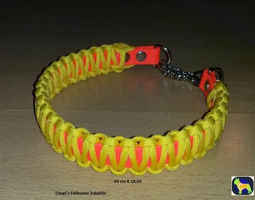 PAH2 Biothane mix Paracord Halsband Teilwürger 49 cm komplett gemessen -Farbe: Orange mit Gelb  -  Preis: statt  €18,50 -  nur € 11,00