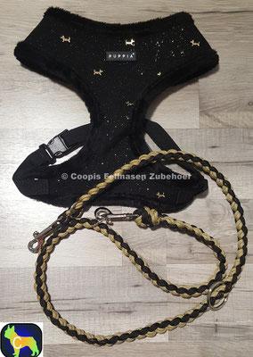 Puppia Brustgeschirr Winter Set mit passender Leine aus Paracord geflochten.  XL bis max. 41cm, zwischen 58 - 80 cm bis 7 kg,  Leine 1,15m  statt € 53,90  nur € 32,34