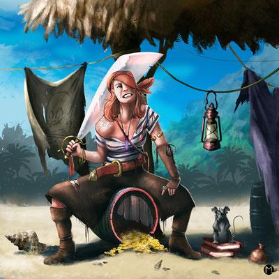 Concept Art - Chracter Design - Kinky the Pirate - Piratin