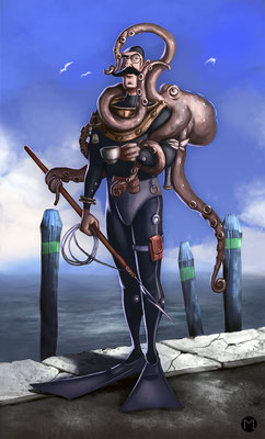 Concept Art - Character Design - Diver with Octopus - Taucher mit Oktopus