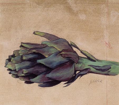 Avokado.Gouache auf Papier.