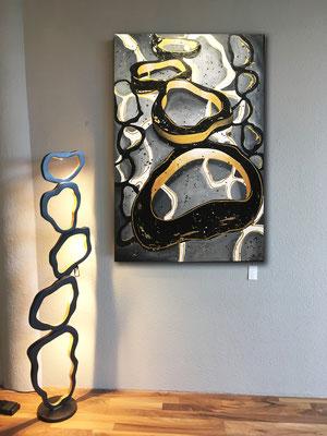 Goldene DNA - 80 x 120 cm