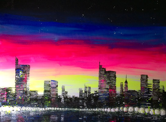 skyline at sunrise 2 - 120 x 100 cm - verkauft/gespendet
