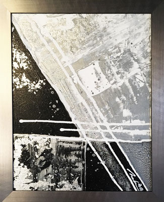 ABSTRAKTES IN SILBER - 50 x 70 cm - 2019