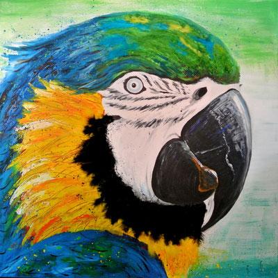 Gustav (Papagei) - 100x100 cm - verkauft