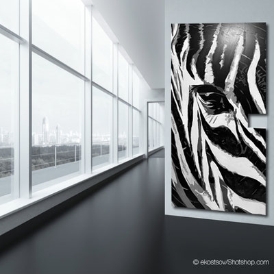 STRIPES 2 - Zebrakopf 110 x 217 cm - vergriffen