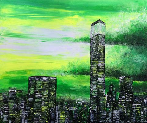skyline stormy green - 120 x 100 cm - verkauft