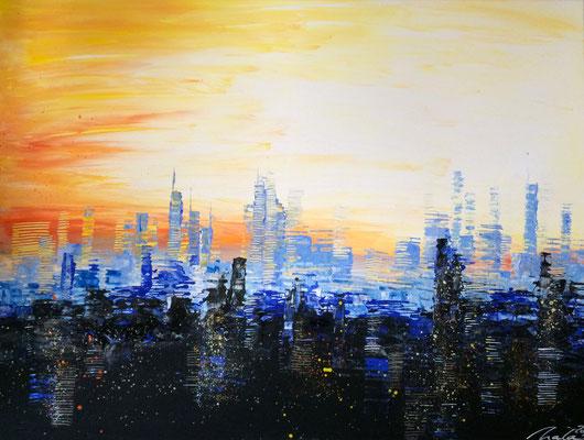 skyline at sunset 2 - 120 x 90 cm