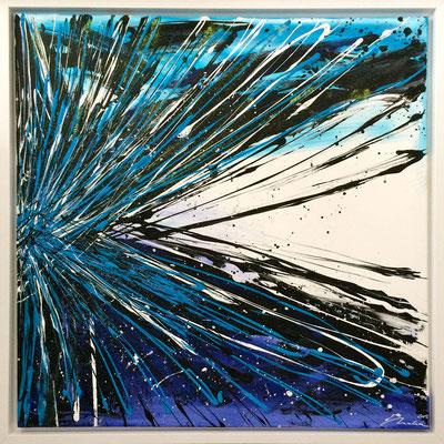 abstraktes Farbenspiel - blau 80x80 cm