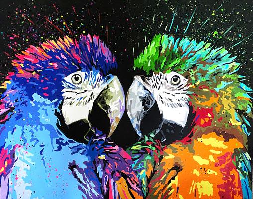 Papageien 150 x 120 cm