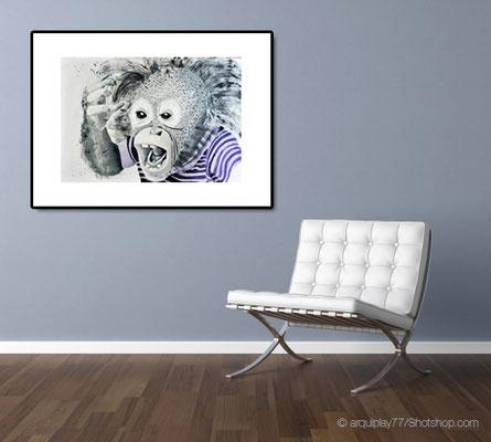 crazy monkey - 60 x 40 cm