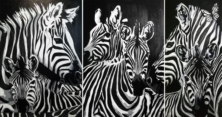 STRIPES (Zebras) 3er Set - 70 x 100/70 x 100/50 x 100 cm - 2019 - verkauft