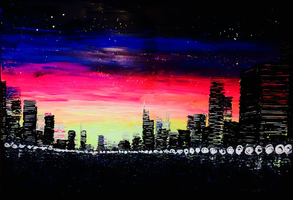 skyline at sunrise 3 - 100 x 70 cm