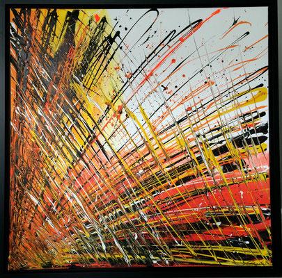 abstraktes Farbenspiel - orange 90x90 cm - verkauft