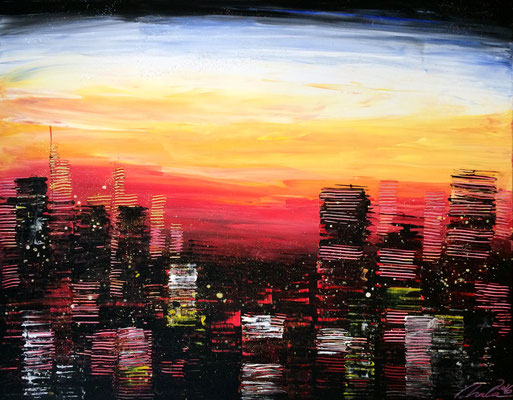 skyline at sunset 3 - 90 x 70 cm