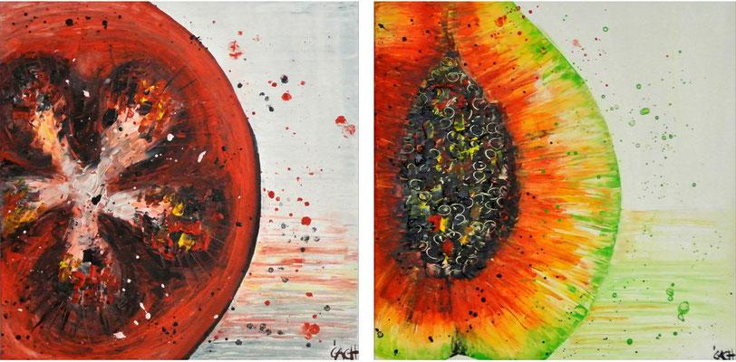 Tomate und Papaya - 60x60 cm - verkauft