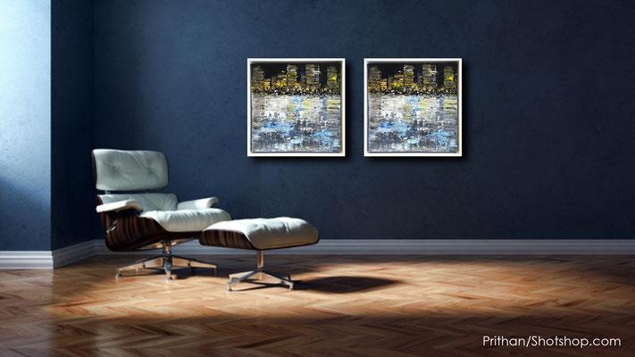 Skylines Gold, 2er Set - 50 x 50 cm