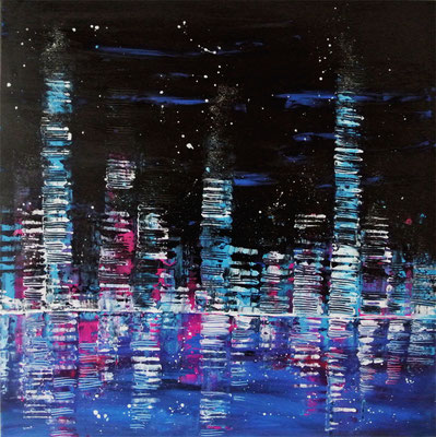 skyline by night - 100 x 100 cm - Ausstellung
