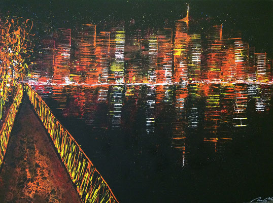 skyline fiktiv (view from a bridge) - 160 x 120 cm