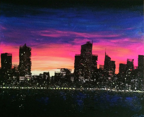 skyline at sunrise - 120 x 100 cm - verkauft