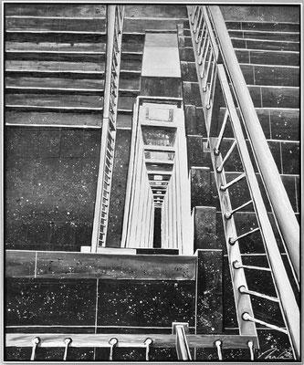 Weg nach unten Teil 5 (Treppenturm Thür. Landtag) - 100 x 120 cm - verkauft