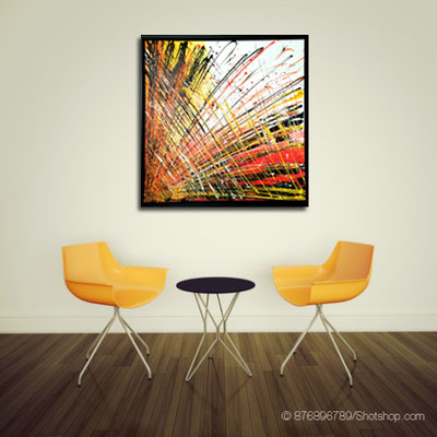 abstraktes Farbenstiel orange - 90 x 90 cm