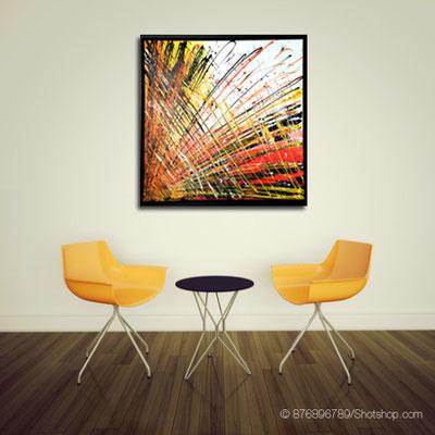 abstraktes Farbenstiel orange - 90 x 90 cm