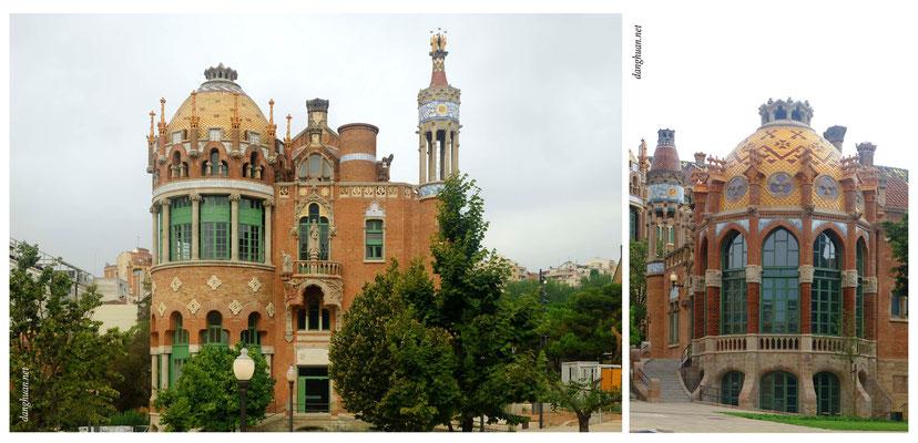 L'hôpital de Sant Pau , dessiné en 1901 par l'architecte catalan Lluís Domènech i Montaner et  terminé en 1930 - Barcelone