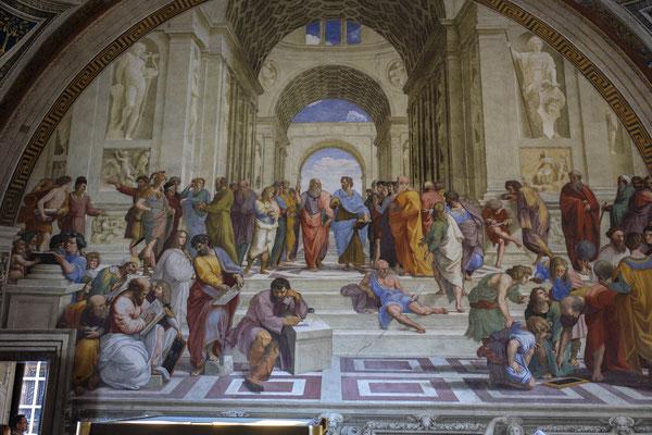 L'École d'Athènes : fresque de Raphaël,  Chambre de la Signature (les Stanze)