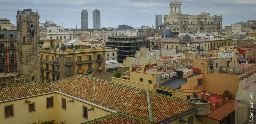 les toits de Barcelone depuis la cathédrale