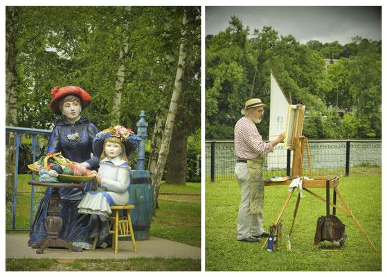 Sculpture de Seward Johson d'après le tableau 'Les deux soeurs ou sur la terrasse' de Piette-Auguste Renoir