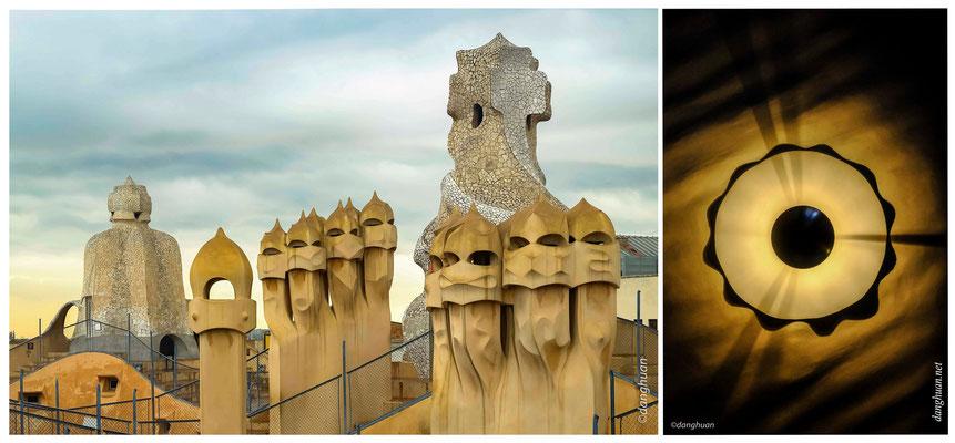 La Casa Milà : Détails des cheminées, faisant penser aux casques corinthiens des hoplites de l'Antiquité.