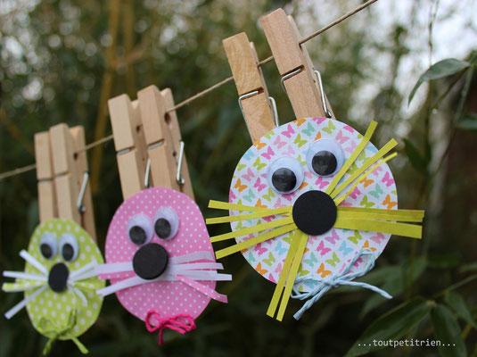 Lapins - pincettes sur un fil ! www.toutpetitrien.ch/bricos/ - fleurysylvie
