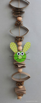 Guirlande lapin, recyclage de papier et carton. www.toutpetitrien.ch/bricos/ - fleurysylvie