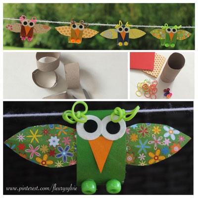 Petit oiseau avec rouleau papier WC, rainbow looms et perles. www.toutpetitrien.ch/bricos/ - fleurysylvie