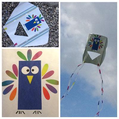 Cerf-volant. Le hibou est découpé dans du papier à lanternes + double face pour tapis. www.toutpetitrien.ch/bricos/ - fleurysylvie
