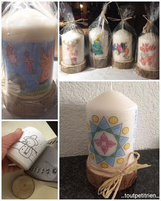 Bricolage enfant Noël, bougie, papier de soie avec les dessins des enfants, technique du fer à repasser (laquer au préalable avec la laque à cheveux) / toutpetitrien.ch